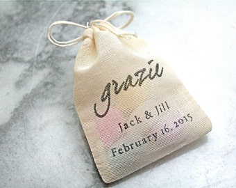 """Personalized wedding mini favor bags, muslin, 2x4. Set of 50. Italian """"Grazie"""" in black on natural cotton. Perfect for sugared almonds."""