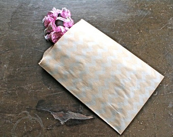 Kraft paper favor bags.  Set of 50.  Candy buffet, treat bags, goodie bags, party favors. Brown kraft paper with silver chevron design.