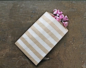 Party or wedding favor bags, set of 50 brown kraft paper bags with white horizontal stripes. Candy buffet, goodie bags, bitty bags.
