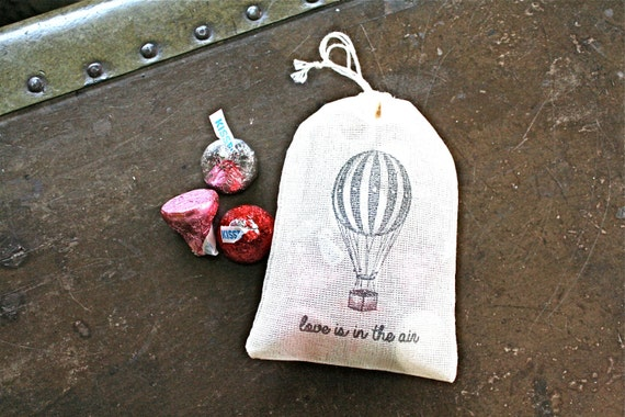 """Wedding favor bags, 3x4.5. Set of 50 double drawstring muslin bags. Hot air balloon and """"Love is in the air"""" in black."""