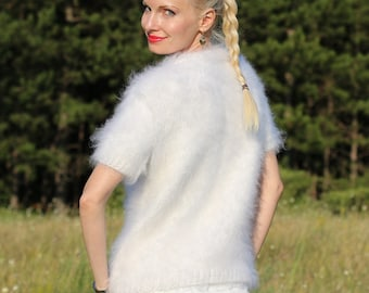 Hand knitted mohair sweater in white with short sleeves by SuperTanya