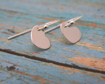 Itsy Bitsy Teeny Weeny Heart Dangle Earings, A Dainty Pair of Solid .925 Sterling Silver Ear Wire and Heart Dangle Earrings