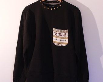 Studded Sweatshirt Spiked Top Black Gold spikes Aztec Handmade