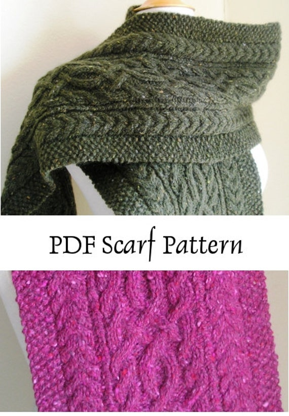 Knitted Scarf Pattern PDF Gormlaith Beautiful Cabled