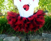 Ladybug Petti Tutu Baby Girl Set With Black Polka Dot Flower Headband First Birthday Outfit