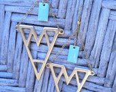 Geometric Statement Earrings in Gold and Mint
