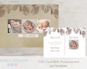 7x5 Birth Announcement, Card Template, Baby Baby Fall set1 psd templates