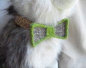 Knitted Dog Collar Bow tie - Green/gray - Pet collar accessory