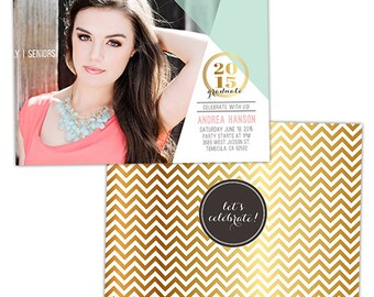 Senior Graduation Announcement Card Template for Photographers - Photoshop Templates for Photographers - Photo Card Template - GD114