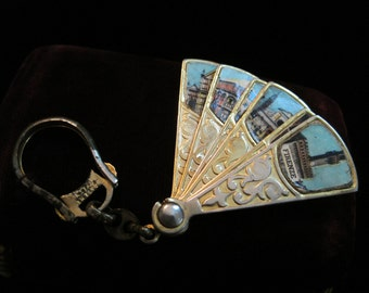 Italian Souvenir Keychain Gold Tone Fan Pictures Book of Photos  Key Ring Key Chain Accessory Photos Firenze Florence Italy