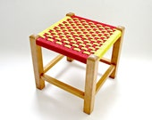 Vintage Retro Mid-Century Child's Stool / Foot Stool, Basket Weave, Red and Yellow, 60s