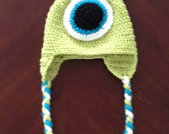 Crocheted Mike Wazowski Ear Flap hat - Choose your size