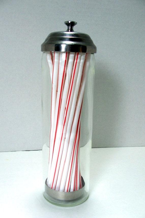 Vintage Barber Comb Straw Holder Glass Metal