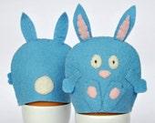Egg Cosy Wool Felt Rabbit Pair blue