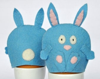 Egg Cosy Wool Felt Rabbit Pair blue