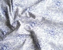 blue floral fabric vintage fabric patchwork fabric quilting fabric antique fabric french fabric 136