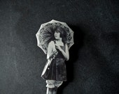 Flapper Girl Holding an Umbrella Brooch - Parasol - Black and White Jewelry - Resin Brooch