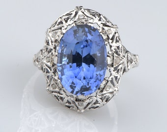 Edwardian 7.86 Ct Verneuil sapphire and diamond rare ring
