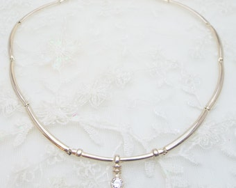 Cubic Zirconia and Silver Necklace