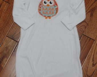 Applique Owl Layette Gown