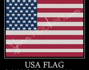 United States of America - USA - Flag - Afghan Crochet Graph Pattern Chart - Instant Download