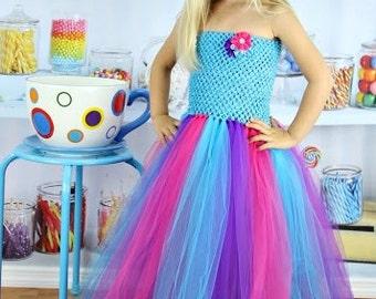 Turquoise, Pink, and Purple Birthday Tutu Dress