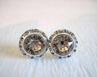 Silk Swarovski Crystal Stud Earrings/ Crystal Studs /Bridesmaid Jewelry/ Wedding Jewelry/Swarovski Crystal Earrings