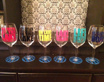 Custom Lake Sayings Vinyl Wine Tumbler Glass Decals - Custom vinyl decals for wine glasses