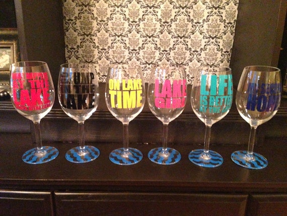 Custom Lake Sayings Vinyl Wine Tumbler Glass Decals - Wine glass custom vinyl stickers