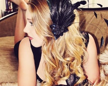Gatsby Girl Black Feather Fascinator