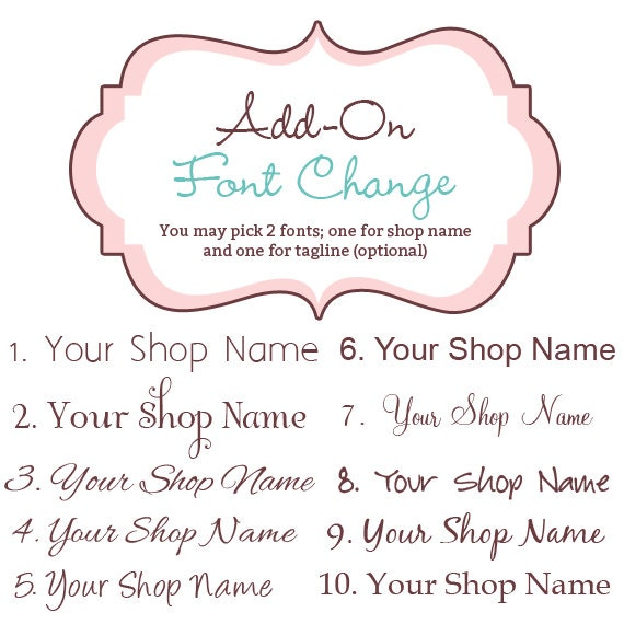 Font Add-On  - Pick A New Font For A Premade Etsy Banner Shop Set