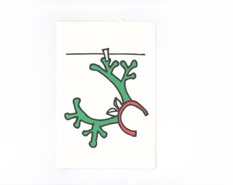 Reindeer Antler Christmas Card with red green bold christmassy illustration graphics