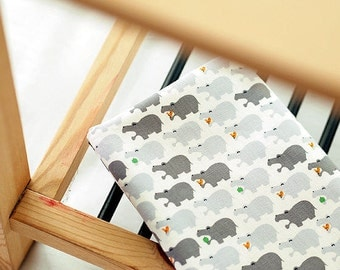Oxford Cotton Hippos - Grey - By the Yard 38868
