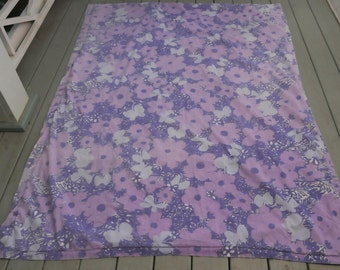 Vintage Patchwork Throw Quilt Handmade Purple White Poppies Squares Reversible 1960s Signed