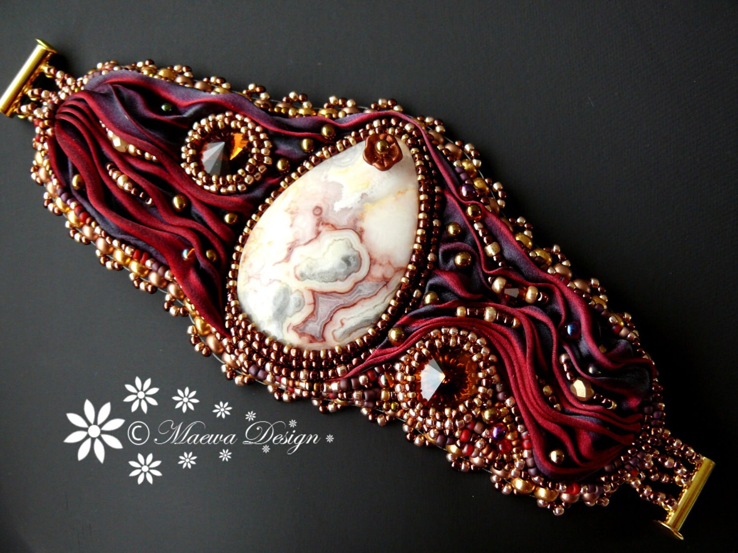 Bead embroidered cuff crazy lace agate bracelet hot lava