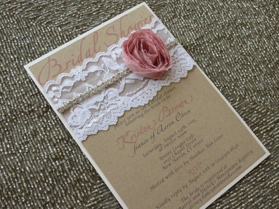 HAILEY - Shabby Chic Lace Bridal Shower Invitation - Customizable - Burlap and Pink