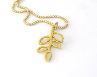 Olive Branch Necklace, Twig, Nature, Gold Olive Branch Jewelry, Extend an Olive Branch, Bridal Gift, Friend Gift