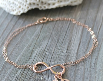 Personalized 14k rose gold filled Infinity bracelet with two 2 custom stamped initial leaves, letters, monogram, pink gold, double chain