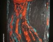 Essence II an abstract original painting on wood by artist Rachel Dickson