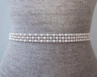 3 row Rhinestone & Pearl bridal wedding sash / belt, bridesmaid sash