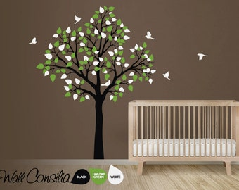 """Baby Nursery Tree Wall Decal Wall Sticker - Tree Wall Decal - Tree Decals - Large: approx 77"""" x 61"""" - KC020"""