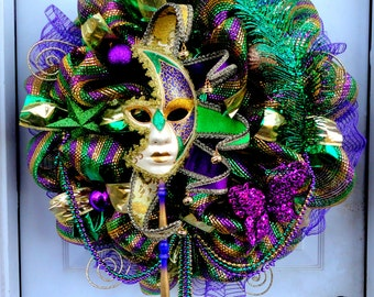 huge limited mardi gras deco mesh wreath mardi gras wreath deco mesh - Mardi Gras Decorations