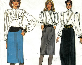 Misses Straight Skirt or Straight Maxi Skirt Front Side Vent Sewing Pattern Size 12 14 16