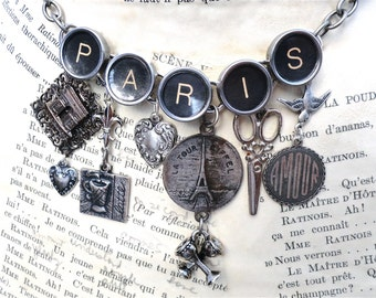 PARIS Necklace Typewriter Jewelry Eiffel Tower France Sterling Silver Vintage Charms Custom Made