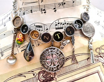 VINTAGE Charm Necklace Typewriter Key Jewelry Custom Order Antique Sterling Charms