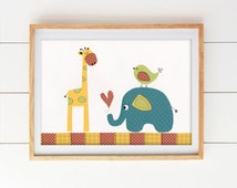 Elephant Nursery Decor, Giraffe Wall Art, Baby Boy Safari Theme , Red, Blue, Green, Yellow  Safari Fun Elephant & Giraffe - PRINT
