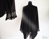 Oversize black  tunic , plus size blouse