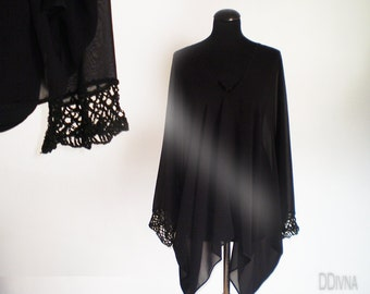 Oversize black  tunic , plus size blouse