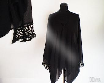 Black Oversized T Shirt Tunic Transparent Dress Plus Size ,lace sleeve detail  on blouse