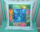 Sea Turtle Swim Quilted Pillow Cover